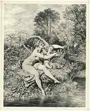CUPIDO als FISCHER mit WEIBLICHEM AKT Heinrich LOSSOW 1887 OriginalLichtdruck