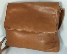 Vintage Camel Brown Leather Shoulder Bag Purse Distressed Rugged Look Boho Albi