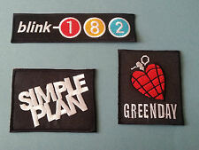 SET OF THREE MUSIC SEW/IRON ON PATCHES:-  BLINK 182 SIMPLE PLAN GREEN DAY