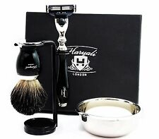 MEN'S GROOMING SHAVING SET Gillette Mach3 Razor & Black Badger Brush CLASSIC KIT