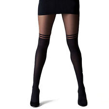 Sexy Stockings Pantyhose Mock Over The Knee Double Stripe Sheer Tights