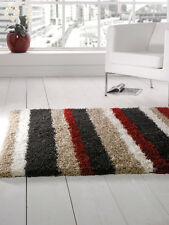 Modern Shaggy Rug Black Blue Brown Orange Grey Multi in Various sizes Carpet