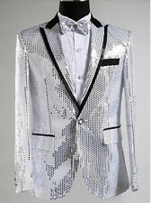 Mens Bling Sequins Tuxedo Suit&Pants Gangnam Style Psy Jacket Coat Clothing