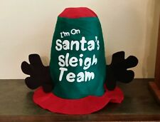"""I'M ON SANTA'S SLEIGH TEAM"" WITH REINDEER EARS HAT CHRISTMAS DECORATION PROP"