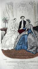GRAVURE MODE ANCIENNE 19e - CONSEILLER DAMES ET DEMOISELLES 1866 - COMMUNIANTE