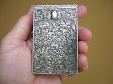 RARE ANTIQUE 800 STERLING SILVER VERY ORNATE ENGRAVED CIGARETTE CASE BOX