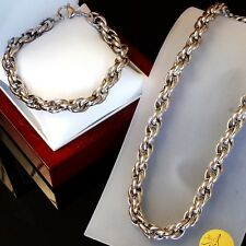 SET Heavy Stainless Steel Necklace Bracelet Men Chain Massive Chunky Silver a1