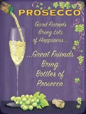 Prosecco Wine Glass Drink Pub Bar Kitchen Old Advertising Small Metal/Tin Sign