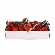 Artificial Robins with Feathers 10cm/4 inches x Box of 12 Christmas Robin