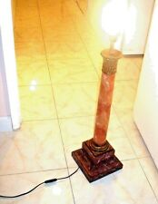 ANTIQUE HEAVY MARBLE & BRASS TABLE LAMP BASE IS BROWN & BLACK, COLUMN PINK,