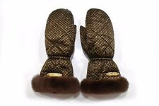 Auth Mint Louis Vuitton Monogram Gloves 100% Silk Rabbit Fur Brown Box 22738