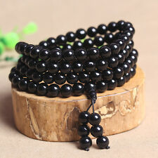 Natural Black Agate Bracelet 108 Beads Meditation Prayer Tibetan Buddhist Bangle
