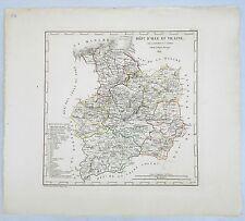 Dépt 38 - Atlas du Royaume de France Rare Carte l'Isère  Aquarellée de 1824