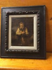 Antique Painting Child/ Young Girl Holding Mop Framed And Matted