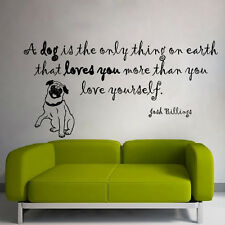 Wall Vinyl Decal Sticker Quote Dog Love You Puppy Pug Pets Pet Shop Decor m534