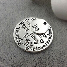 Be True Charm Antique Tibetan Silver Engraved DIY Pendant Free Happy Brave Kind