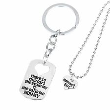 MOMMY'S GIRL MOTHER DAUGHTER NECKLACE CHARM KEY RING KEY CHAIN PENDANT SET #KC8