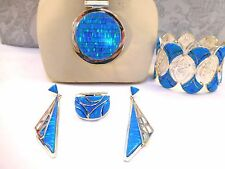HUGE Bright blue Fire Opal pendant TDF! Solid Medallion Heavy Solid Sterling 925