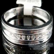 MEN'S 10K WHITE GOLD GENUINE REAL DIAMOND ENGAGEMENT WEDDING BAND RING 5.5MM