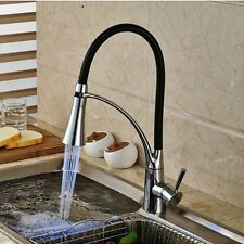 Swivel Sprayer Chrome LED Kitchen Faucet Pull Down Vessel Sink Mixer Tap