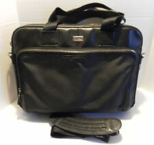 Cole Haan Men's Black Canvas/Textured Leather Zip Top Briefcase Bag