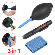 3 in 1 Lens Cleaning Cleaner Dust Pen Blower Cloth Kit for DSLR VCR Camera Canon