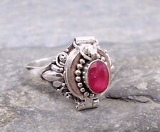 925 Silver Cut RUBY Poison Ring Sz R-8.75 R693~Silverwave*uk Jewellery