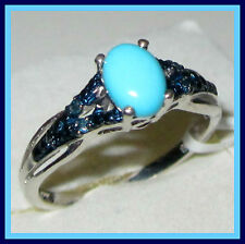 SLEEPING BEAUTY TURQUOISE / BLUE DIAMOND PLATINUM/ STERLING SILVER 925 RING sz 9