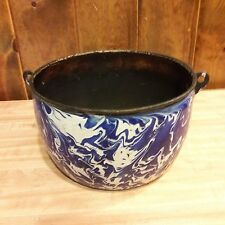 Old Blue Spongeware Enamel Pot From Farm Auction Cabin Decor Flower Pot  #47