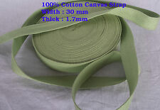 30mm Paroot Green CANVAS upholstery DIY 100%cotton Webbing tape Bag Belt x 1Yard