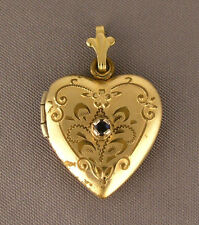 Vintage Gold Filled & Sapphire Heart Locket Pendant - Carol Love Fred 4-14-73