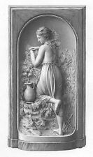 PRETTY YOUNG NAKED NUDE TOPLESS FARM GIRL at WELL, Old 1875 Art Print Engraving