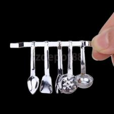 Dollhouse Miniature Kitchen Accessory Silver Hanging Utensils & Rack 1:12