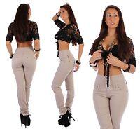 B23 Damen Jeans Hose Highwaist Hochschnitt Röhre enges Bein Beige XS 34 - XL 42