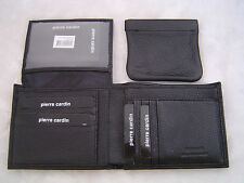 Pierre Cardin MENS LEATHER WALLET BLK 12 SLOTS 1 ID+COIN PURSE PC9449