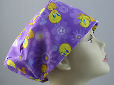 WOMENS SURGICAL_SCRUB HAT_Surgical_tweety bird_yellow_purple_cotton_custom made