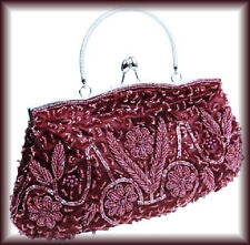 BMC Red Beaded Sequin Metal Frame Kissing Lock Satin Evening Clutch NWOT