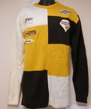 Mens VINTAGE XL PJ MARK SWEATER Motocross Speedway Supersport Moto Plant PATCHES