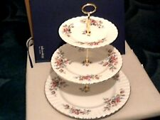 """ROYAL ALBERT """" MOSS ROSE """" THREE TIER CAKE STAND - 1ST QUALITY - MADE IN ENGLAND"""