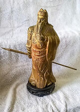 "Japanese Gold Leaf Wooden Statue of ""Guan Yu"""