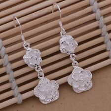 Earrings Double Rose Floral Drop Dangle Ladies 925 Sterling Silver Fashion Gift