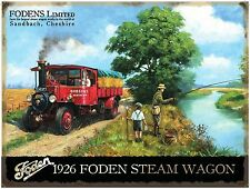1926 Foden Steam Engine Wagon Classic/Vintage, Fly Fishing, Large Metal/Tin Sign