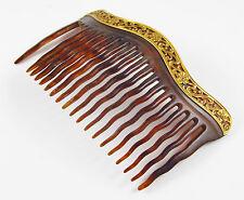14K Gold Victorian Art Nouveau Faux Tortoise Shell Floral & Ivy Motif Hair Comb