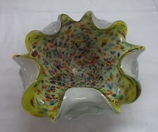 MURANO ART GLASS YELLOW TUTTI FRUITI  GOLD FLECKS TURNED IN EDGE BOWL