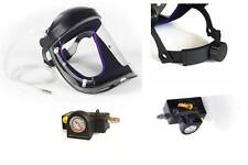 NEW CRUSADER lite AIR FED VISOR, Airfed Paint Spray Mask,  with Ratchet Head-ban