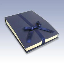 One (1) 7 inch Long Large Sz Deluxe Blue Magnetic Ribbon Jewelry Gift Box