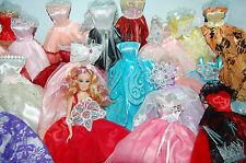12 items Clothes Lot Party Fashion Evening Dresses Sparkly + Shoes for Barbie