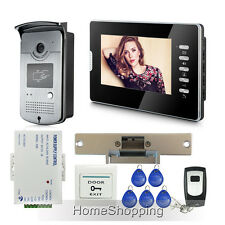 "7"" Video Door Phone IR Camera Electric Strike Lock + Remote + Exit Button Keyfob"