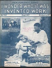 I Wonder Who It Was Invented Work 1924 Pearson Piano Co Indianapolis Sheet Music