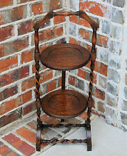 Antique English Oak Barley Twist Cake Muffin Pie Stand Folding Display Table